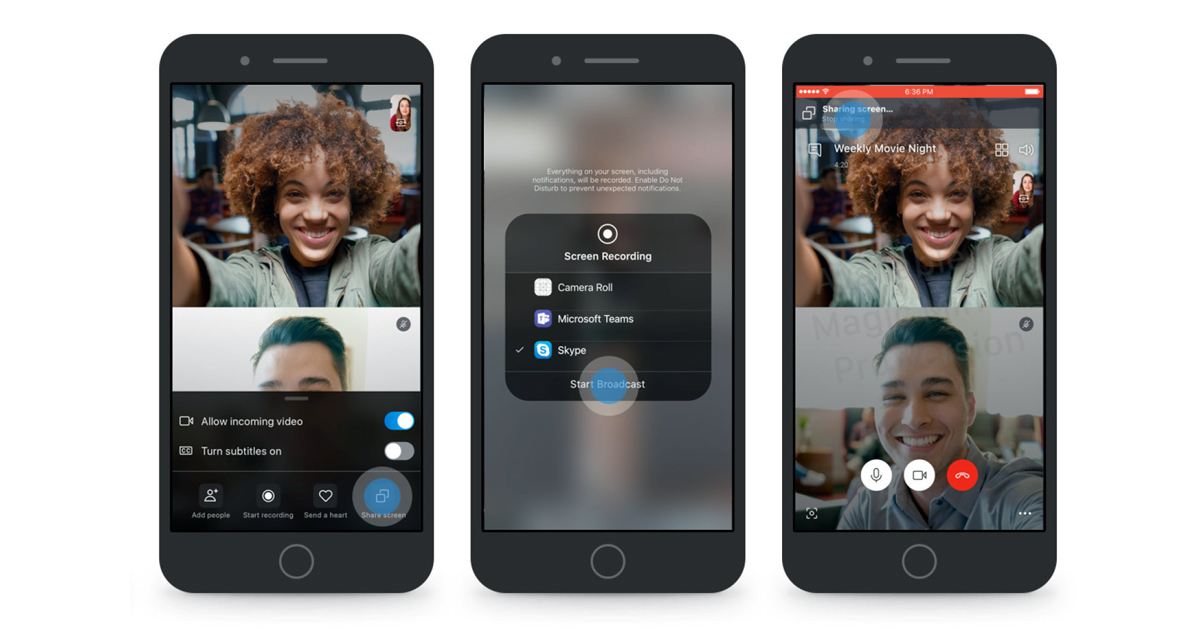 Skype adds screen sharing Feature to its Android & IOS Apps