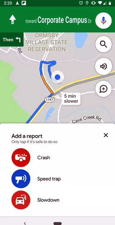 Google Map Speed Feature