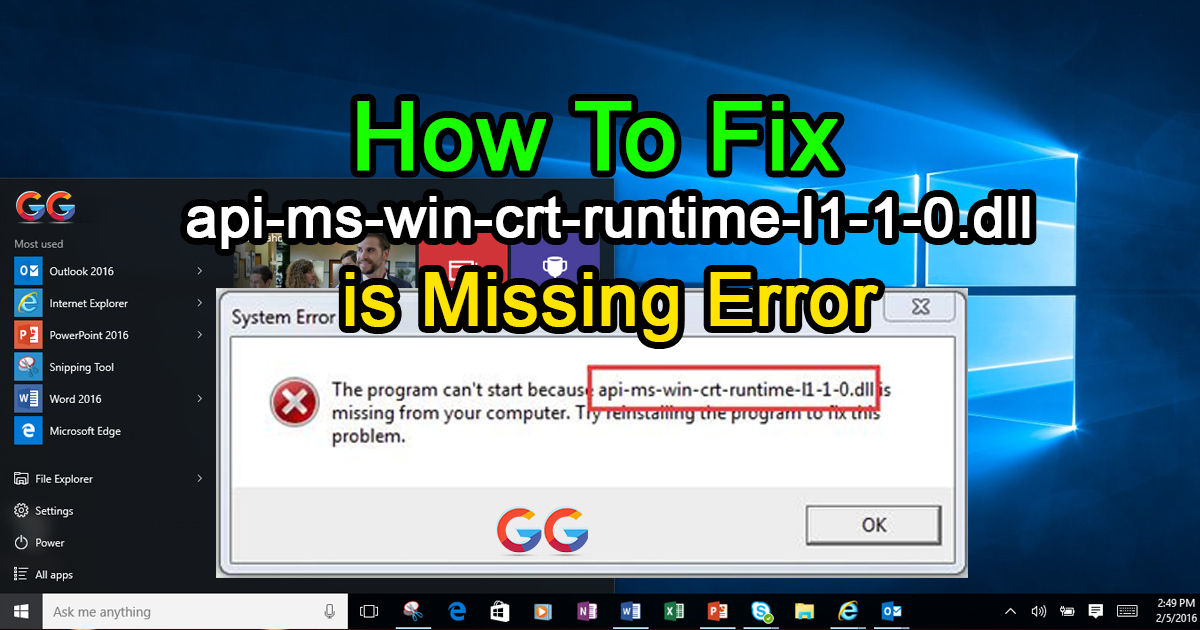 How to fix error api-ms-win-crt-runtime-l1-1-0.dll