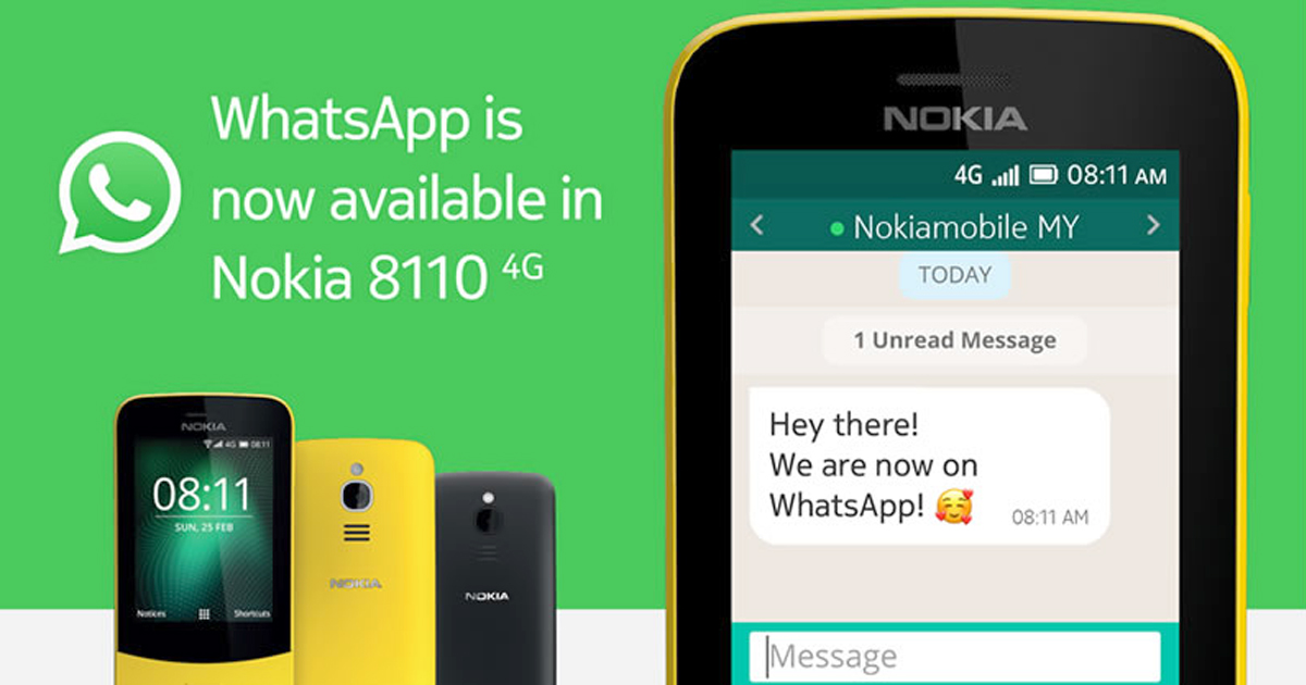 WhatsApp is available on Nokia 8110 and other smartphones from KaiOS